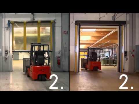 Comparativa entre puerta rápida de apertura horizontal y vertical - Angel Mir (Portes Bisbal SL)