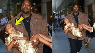 Kanye PISSED at North west's Tantrums on her 5th birthday, Carries Her Out!