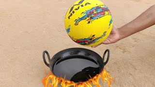 Football vs Hot oil experiment || Football inside very hot oil || Experiment king