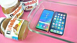 iPhone X vs Samsung Galaxy S8 - NUTELLA FREEZE TEST!!!