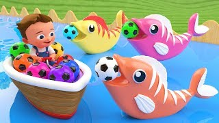 Little Baby Fun Learning Colors for Children with Soccer Balls Fish Wooden Tumbling Slides 3D Kids - YouTube