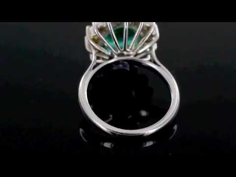 Browns Family Jewellers Emerald and Diamond Cluster Engagement Ring