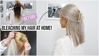 BLEACHING MY HAIR BROWN TO BLONDE using BOX DYE!! At Home... 😱 | Naomi Victoria