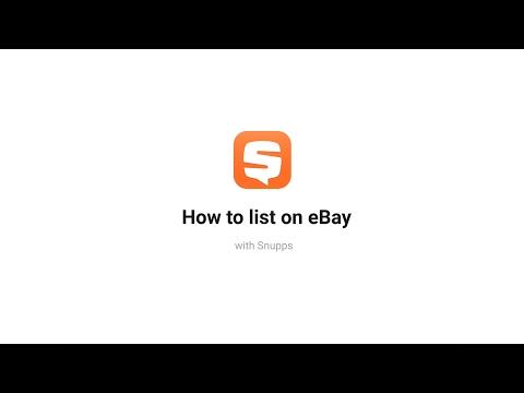 """eBay + Snupps """"List on eBay"""""""