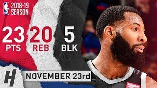 Andre Drummond Full Highlights Pistons vs Rockets 2018.11.23 - 23 Pts, 20 Reb, 5 Blocks!