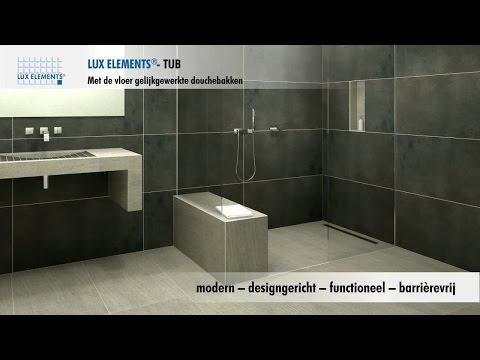 LUX ELEMENTS product: met de vloer gelijkgewerkte douches voor iedere badkamer.