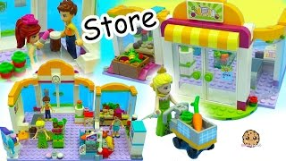 Surprise Blind Bags + Queen Elsa Shops at Lego Friends Supermarket Store For Food