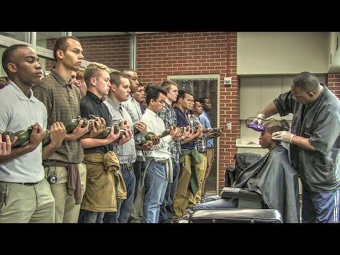 Marine Corps Recruits Initial Haircuts