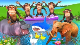 Five Little Monkeys Nursery Rhymes In Outdoor Playground For Kids Children - Animals Names & Sounds
