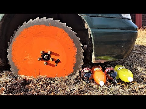 Saw Blade Car Wheels Destroy Everything!