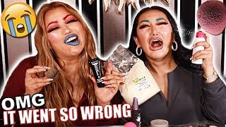MESSY MAKEUP CHALLENGE WITH MY SISTER! FUNNY AF