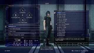 FINAL FANTASY XV (15) MOST OF BEST GEAR WEAPONS AND ACCESSORIES IN GAME MAX LVL 99 DUNGEONS CLEARED