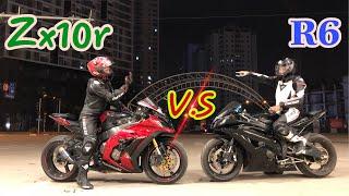 yamahra R6 races with Kawasaki Zx10r