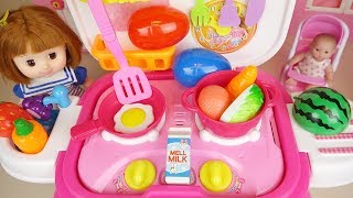 Baby doll Kitchen cooking food toys and surprise eggs play