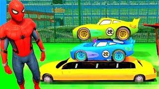 Disney Cars 3 Cartoon Nursery Rhymes SPIDERMAN Dinoco Learn Colors And Lightning McQueen! Kids Songs