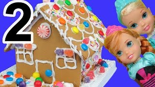 Gingerbread house DECORATING! ELSA, ANNA toddlers use candy, sprinkles, royal icing!
