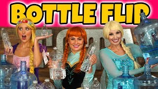 Messy Bottle Flip Challenge Elsa vs Anna vs Rapunzel? Totally TV Dress Up Characters.