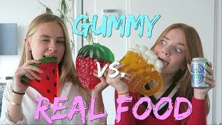 GUMMY FOOD VS. REAL FOOD CHALLENGE! Deel 2