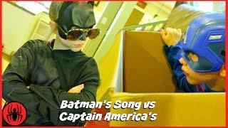 Batman Song vs Captain America BATMAN IS COOL superhero real life movie SuperHeroKids