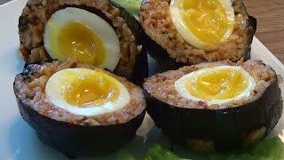 달걀 in 김치볶음 주먹밥 (egg in kimchi fried-rice balls)