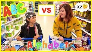 ALPHABET FOOD SHOPPING CHALLENGE🍎 KID vs TEEN 😃