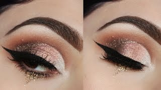 Brown & Gold Half Cut Crease + How To Create Wearable Glitter Tears
