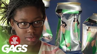 Girl Uses Powers to Crush Cans Prank - Just For Laughs Gags