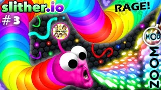 SLITHER.io #3: Epic RAGE Rages EPICALLY w/ RED FACE FGTEEV Duddy!  #ZOOM #MOD #OMG #DOINK #MAGNET