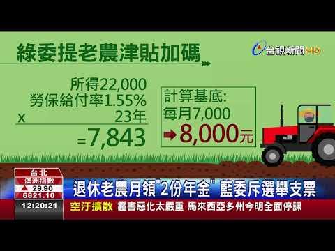 GDP作調整標準老農津貼擬調至8千元
