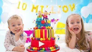 10 Million Subscribers! Party and Surprise Toys for Gaby and Alex