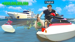 ROBBING MEGA YACHT With Little Brother In GTA 5 Roleplay..