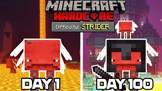 I Survived 100 DAYS as a STRIDER in HARDCORE MINECRAFT... Here's what happened