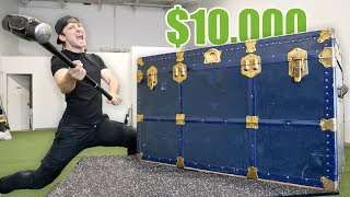 BREAKING INTO A $10,000 GIANT MYSTERY CHEST!! (Buying $10,000 Lost Luggage Mystery Auction)
