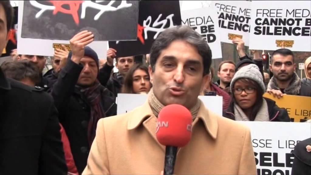 Özgür basına kumpas Brüksel'de de protesto edildi