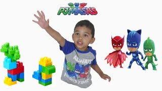 Learn Colors with Pj Masks Toys and Colorful Mega Bloks for Kids!! - The Easton Show