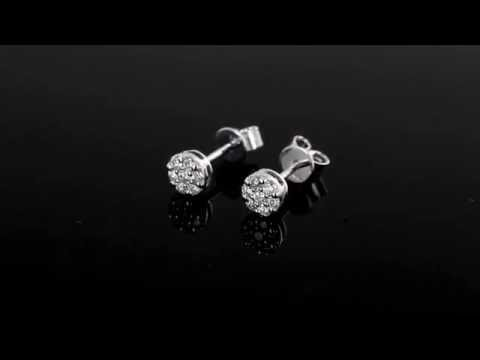 Browns Family Jewellers White Gold Diamond Cluster Earrings