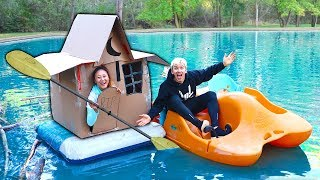 HAUNTED BOX FORT ON WATER!!