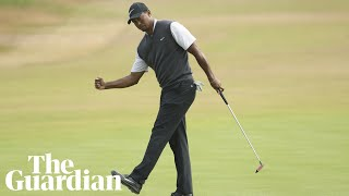 Tiger Woods seems surprised after surging into Open contention