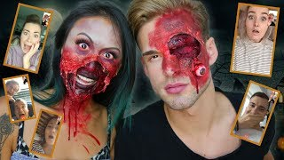 YOUTUBERS LATEN SCHRIKKEN - HALLOWEEN MAKE-OVER TUTORIAL