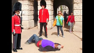 he tried to mess with a royal guard... (BIG MISTAKE)