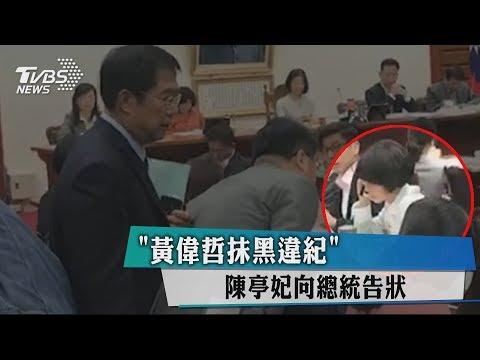 「黃偉哲抹黑違紀」 陳亭妃向總統告狀