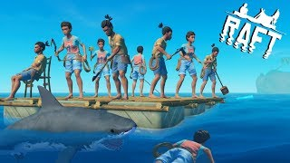🌊RAFT INSANE 9 PEOPLE MULTIPLAYER MADNESS !! Raft Survival Multiplayer Gameplay S2Ep1