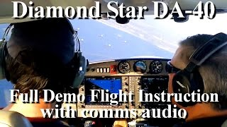 How to fly an airplane (Diamond Star DA 40 ) demo flight training instruction lesson (comms inc.)