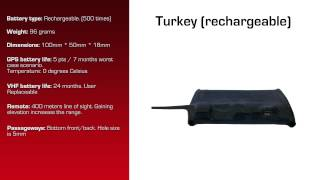 Watch video - GPS Data Logger for Turkey with Rechargeable Battery & User Replaceable VHF Transmitter