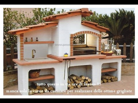 Come costruire un barbecue completo di lavandino da esterno e piano di appoggio - Lavandino esterno pietra ...