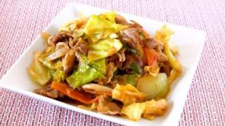 Stir Fried Pork and Cabbage with Ketchup and Miso