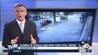 Suspect steals car with kids still inside