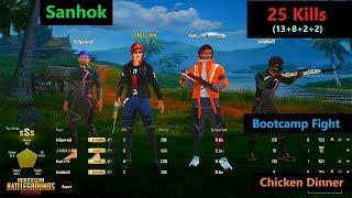 "[Hindi] PUBG Mobile   ""25 Kills"" Amazing Bootcamp Fight  In Sanhok Map"