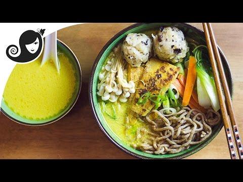 Coconut Curry Ramen Noodle Soup with Crispy Tofu | Vegan / Vegetarian Recipe