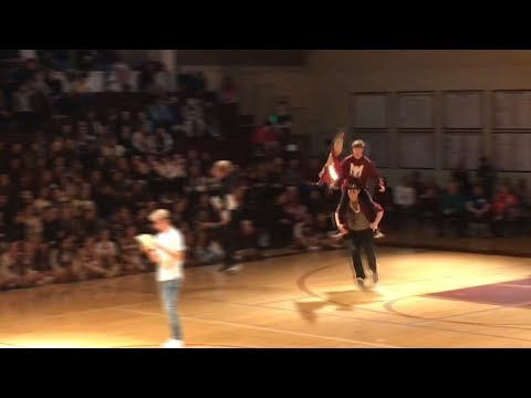 Kid does Fortnite dances in front of whole school, again